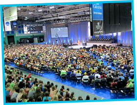 Over 3,000 incoming students at Grand Valley State University attend our presentation as part of their orientation.